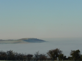 Ivinghoe Beacon standing clear of a sea of fog in the Vale of Aylesbury, 20 Dec 2006 (Copyright Philip Eden)